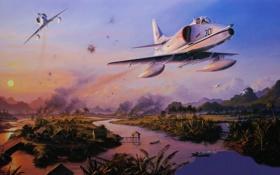 Обои рисунок, поля, арт, пара, полёт, штурмовик, вьетнам