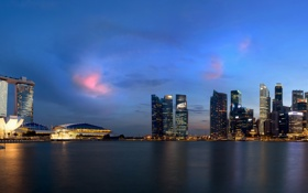 Картинка город, вечер, панорама, небоскрёбы, сингапур, Singapore, Marina Bay