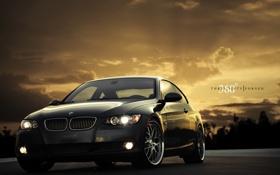 Обои закат, чёрный, бмв, BMW, black, 335i, передняя часть