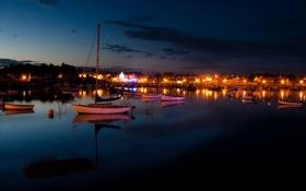 Обои облака, огни, яхты, лодки, вечер, порт