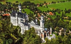 Обои деревья, замок, башня, долина, бавария, германия, Нойшванштайн