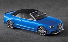 Картинка Audi, Синий, Машина, Кабриолет, Капот, Фары, RS5
