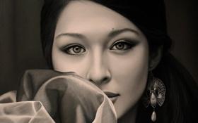 Обои взгляд, девушка, лицо, волосы, портрет, серьги, азиатка