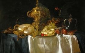 Картинка картина, посуда, фрукты, натюрморт, Виллем ван Альст