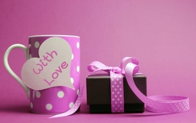 Обои любовь, подарок, романтика, сердце, кружка, love, heart