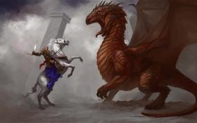 Обои оружие, конь, дракон, арт, колонны, дымка, всадник
