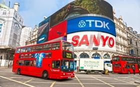 Обои England, автобус, улица, Лондон, London, реклама, street