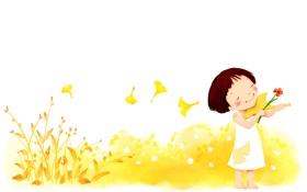 Обои цветы, музыка, фантазия, ветер, девочка, румянец, ребёнок
