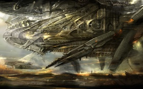 Картинка полет, Планета, челнок, космический корабль, mothership