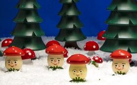 Обои лес, игрушки, грибы