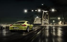 Картинка дорога, ночь, скорость, порт, краны, Cayman R