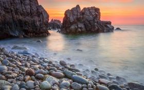 Картинка камни, океан, скалы, рассвет, берег