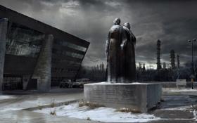 Обои снег, машины, завод, здание, памятник, 007 Blood Stone