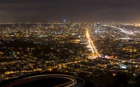 Картинка ночь, город, огни, вид, сша, San Francisco