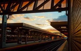 Обои вокзал, табло, небо