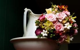Картинка розы, букет, кувшин, эустома, каллы