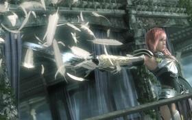 Обои доспех, Final Fantasy, lightning, final fantasy, перья, XIII-2, оружие