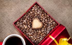 Обои коробка, подарок, сердце, кофе, зерна, печенье