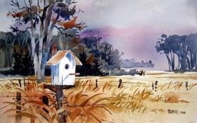Картинка пейзаж, природа, акварель