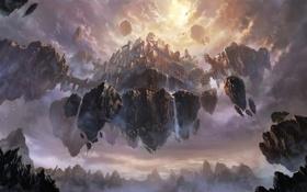 Обои горы, город, скалы, арт, водопады, летучий, в небе