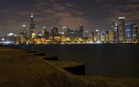 Обои вода, ночь, город, огни, панорама, чикаго, chicago