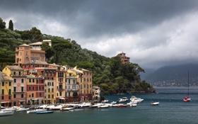 Картинка город, побережье, дома, фото, Portofino, Италия, тучи