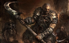 Картинка Fantasy, Art, Background, Weapon, Artwork, Warriors, Orcs