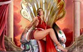 Обои девушка, украшения, раковина, арт, колонны, кристаллы, трон