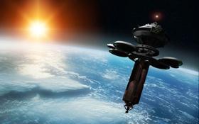 Картинка космос, станция, орбита