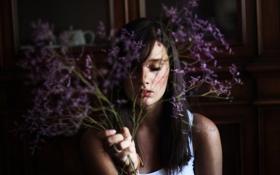 Обои девушка, цветы, фон, обои, настроения, брюнетка, красиво