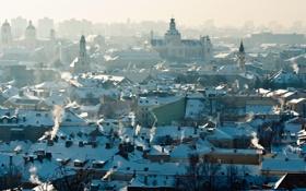 Обои дым, крыши, панорама, smoke, panorama, cityscape, городской пейзаж
