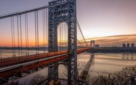 Обои закат, Нью-Йорк, река, мост, New York