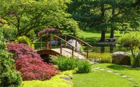 Обои трава, деревья, пруд, парк, камни, лавочка, мостик