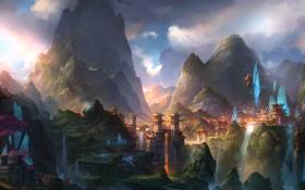 Обои горы, город, краски, водопад, сакура, art, fom