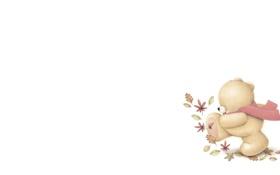 Картинка осень, листья, настроение, арт, мишка, детская, Forever Friends Deckchair bear