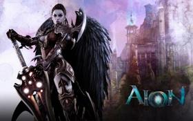 Картинка девушка, замок, крылья, меч, арт, Aion