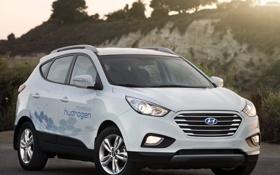 Картинка машина, белый, Hyundai, кроссовер, Tucson, Fuel Cell