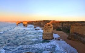 Картинка море, небо, закат, океан, скалы, Австралия
