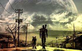 Обои дорога, горы, ландшафт, человек, собака, Fallout 3