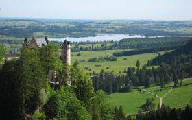 Картинка лес, небо, деревья, озеро, река, замок, холмы