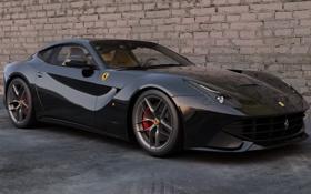 Обои машина, стена, черная, спорткар, Ferrari F12 Berlinetta