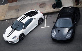 Картинка полосы, Ferrari, белый, f430 черный, вид сверху, авто обои