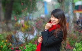 Картинка девушка, улыбка, брюнетка, азиатка