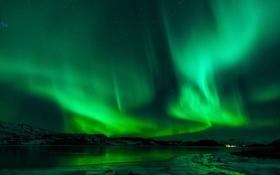 Обои северное сияние. пейзаж, отражение, ночь, озеро