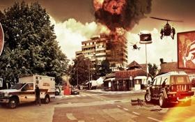 Обои пожар, зажигалка, вертолет, скорая, лос анджелес, gta 5