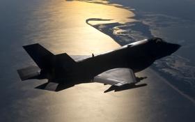 Картинка истребитель, силуэт, бомбардировщик, F-35B, Lockheed Martin