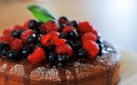 Картинка ягоды, малина, черника, пирог, сладкое
