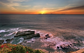 Картинка море, небо, пейзаж, закат, природа, облаках