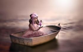 Обои лодка, фея, девочка