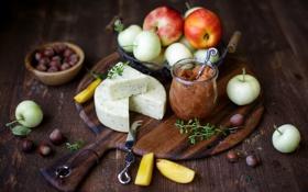 Картинка варенье, лесные, яблоки, еда, фрукты, сыр, орехи
